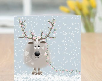 Headgear - Cute and Quirky Reindeer Christmas Card