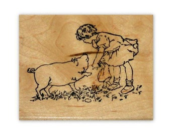 sweet Girl and Pig mounted rubber stamp barnyard, farm animal, summer, CMS#1