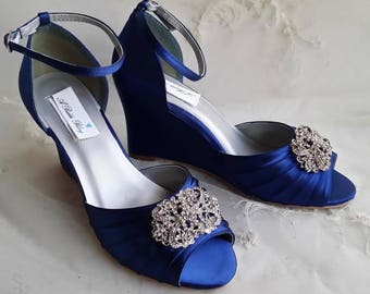 Blue Wedding Shoes Blue Bridal Shoes Blue Wedges with Pearl and Crystal Bow Design - Over 100 Color Choices Available Bridesmaids Shoes