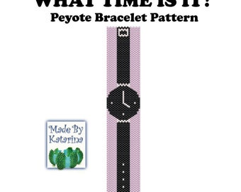 Peyote Pattern - What time is it - INSTANT DOWNLOAD PDF - Peyote Stitch Bracelet Pattern - Peyote Watch Pattern - One Drop Odd Peyote Stitch
