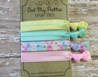 FOE Elastic Hair Ties EASTER BUNNIES, Mint Green, Pink, Yellow Toddlers Girls Women -Set of 4- Easter Basket Gifts