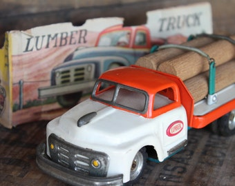Tin Friction Lumber Truck Toy from SSS Japan with partial box