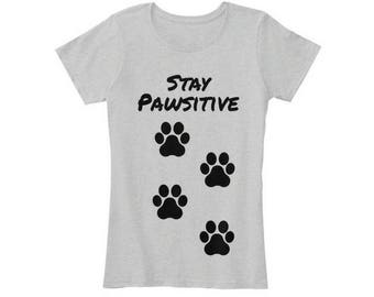 Stay Pawsitive Veterinarian Gift Veterinary Women's Vet Tech Tshirts Puppy Training Veterinarian Gifts Vet Technician Footprints Tshirt