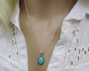 Sleeping Beauty Turquoise 14x10mm Pendant, Necklace, Arizona Turquoise Gemstone, December Birthstone, Bride Necklace, Wedding Jewelry