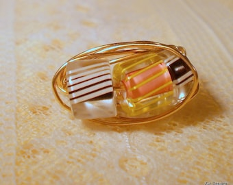 Colorful Glass 14K Gold Wire Wrapped Ring