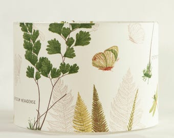 lamp shade with fern leaves, butterflies and dragonflies