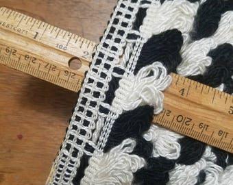 Black and White Cotton Loop Fringe 8-1/2 Yards