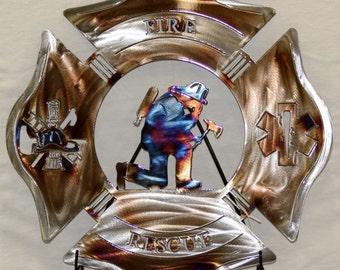 Fire Rescue Kneeling Firefighter Metal Sign
