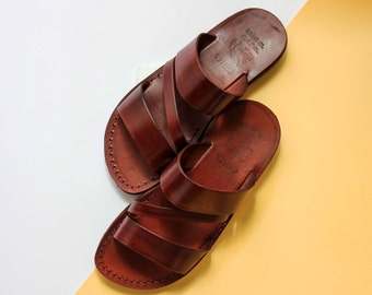 Jesus sandals for both men and women  free shipping world wide, genuine leather sandals handmade easy slide on sandals with a unique shape