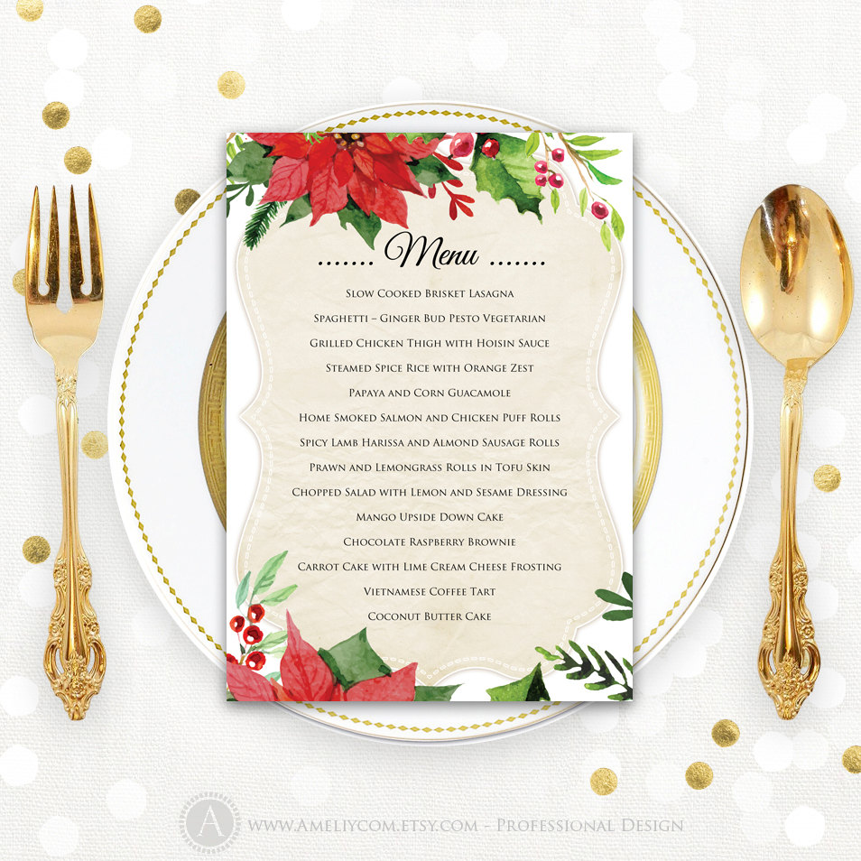 Christmas Menu Printable Dinner Menu Rustic Christmas Dinner