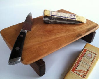 RECLAIMED beautiful CHERRY raised serving/cutting board By Eco Hardwoods a guy who cares about you and the earth