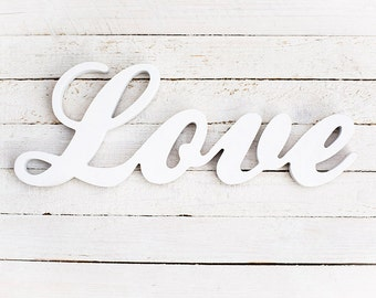 Love sign - wooden love sign - white love sign - love wood sign - wood love - wedding sign - sweetheart table decor - rustic love sign
