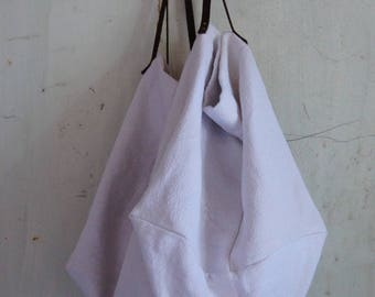 Large vintage cotton and linen tote bag