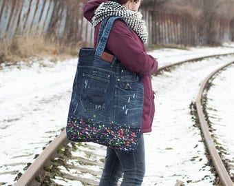 Recycled jeans maxi shopping bag, denim tote, technicolored recycled denim hand bag, large hand bag.