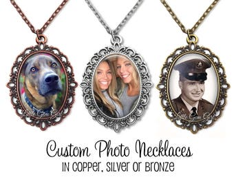 Custom Photo Necklace - Personalized Picture Jewelry - Oval Photo Pendant in Silver, Copper or Bronze - Wedding Bouquet Memorial Charm