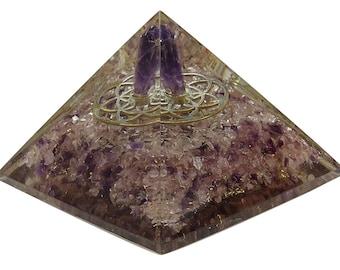 Amethyst Orgone Pyramid, Flower Of Life Symbol, Reiki Healing Crystal, Meditation Energy Generator With Gift Pouch HCDR1332A