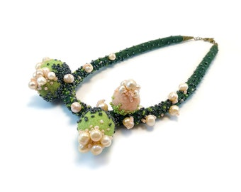 Spring In the Forest, In Bloom Necklace, Pearls Necklace, Felted Wool Necklace, Felt Jewelry, Statement Felted Necklace, Spring Flowers