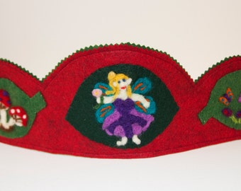 Woodland Fairy Crown, Waldorf Inspired Crown, Needle Felted Crown, Wool Felt Crown, Flower Fairy Crown, Birthday Crown, Pretend Play Crown