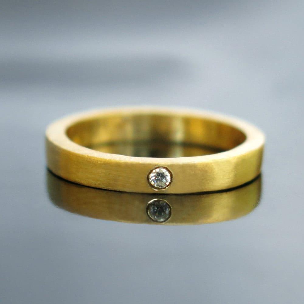 Gold diamond wedding band Modern diamond engagement ring