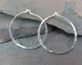Medium Sterling Silver Hoops, 1 inch Hoops, Minimalist Earrings, Classic Earrings
