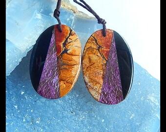 New,African Purple Stone,Multi Picasso Jasper,Obsidian Intarsia Gemstone Earring,35x24x3mm,8.5g,-E9759