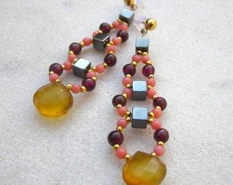 Long gemstone earrings, chalcedony earrings, stone dangle earrings, luxury earrings, beaded gemstone earrings, coral, hematite, garnet