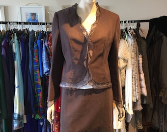 Chocolate Brown 3 Piece Suit by Claudia Strater Size 14