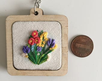 Flower bouquet embroidery necklace. Free shipping US only.