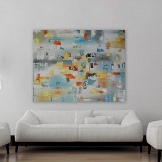 Huge XL Origianl Abstract Painting Contemporary Mondern wall art artwork  wall decor acrylic colors yellow orange bluie gray black turquoise