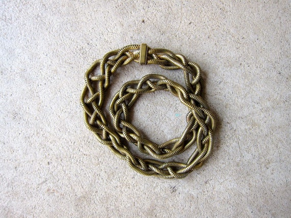 Woven Brass Chain Necklace 70s Heavy Golden Chain Choker Coil Necklace Hip Hop Glam Jewelry Womens Chunky Necklace