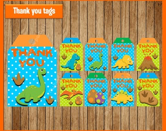 Dinosaurs thank you tags instant download, Printable Dinosaur party tags, Dinosaurs thank you tags