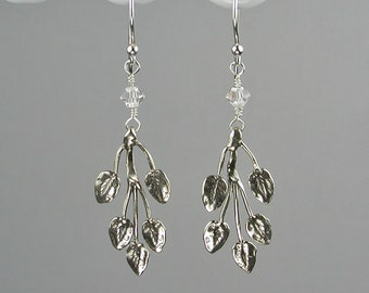 Three Leaf Branch Sterling Silver and Swarovski Crystal Dangle Earrings