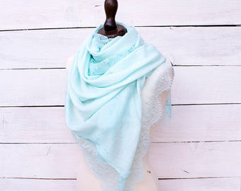 Bridesmade Scarf Lace Pastel Green Scarf Rectangle Green Scarf Long Scarf