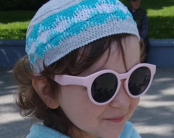 Ornamented summer knitted hat for kids, crochet hat, baby crochet hat, knit hat, crochet hat