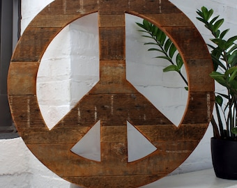Bohemian Wall Decor Reclaimed Wood Hippie Wall Decor Rustic Peace Sign Boho Wall Decor Peace Symbol Wooden Peace Sign Rustic Home Decor