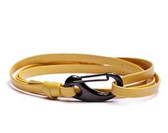 Men's Bracelets - Leather Bracelet for Men - Yellow leather bracelet - leather bracelet for Men - adjustable bracelet for men - Gift for him
