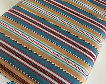 Fabric by the Yard, Cowboy Western Nursery, Baby Quilt fabric, Texas Rustic Decor, Boots and Spurs Stripe in Blue, You choose the cut