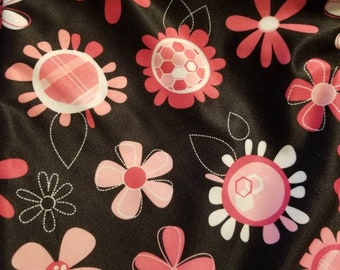 Custom Black and Pink Flowers  Diaper you choose type and size Nb/Sm or Onesize
