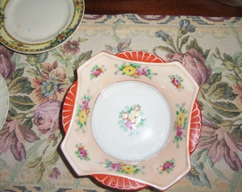 Japan Bowl Dish Orange with Multi Color Floral's Marked JUST REDUCED