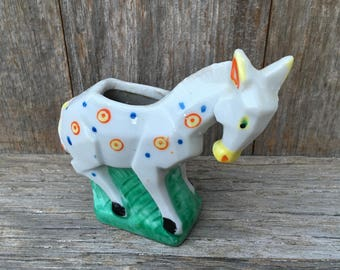 Small Vintage Ceramic Donkey planter, Japan