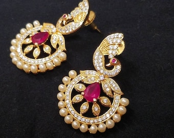Pearl and ruby cubic Zirconia earrings