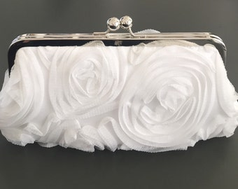 Gauze Rosette OFF WHITE Clutch