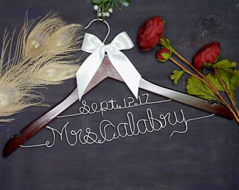 Wedding Dress Hanger, Personalized Wedding Hanger, Bridal Hanger, Two Line Hanger, Team Bride, Vintage Wedding Hanger, Gifts and Mementos