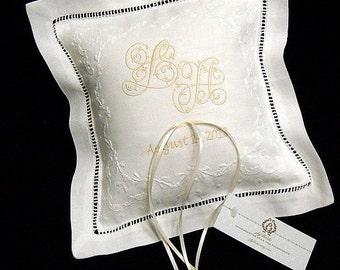 Monogram Ring Pillow, Wedding Ring Pillow, Personalized Irish Linen Ring Bearer Pillow, Custom Ring Pillow, Ring Cushion, Style 5825