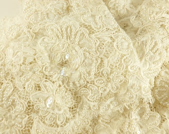 Wedding Gown Lace Remnants Scraps Lot in Antique White with Sequins and Beaded with Faux Pearls
