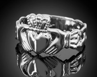 Gold Claddagh Ring - Mens Celtic Band Irish Claddagh Ring (yellow, white, rose gold)