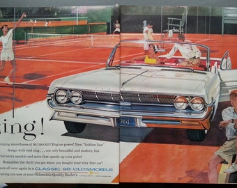 Classic 98 Olds Illustrated 2 pg White Convertible Tennis Court Action & Tennis Match 1960.  13 x 10  Ready for Framing.