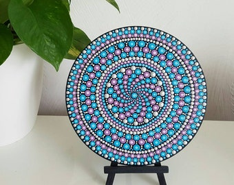 Purple Blue Mandala Art Painting - Dot Art - Painted Wood - Hand-Painted Meditation Mandala Rock - Home Decor - Chakra Painting - Paint Rock