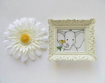 Mini framed art, watercolor painting, nursery decor, baby elephant art, mini painting, watercolor painting, kids decor