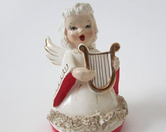 Ceramic Singing Angel Musical Angel by Fine A Quality Co., Porcelain Angel Playing Harp with Spaghetti Trim Christmas Ceramic Collectible
